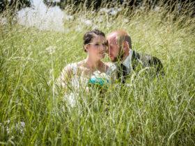 Brautpaar sitzt im hohen Gras